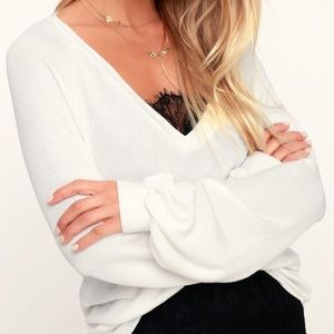 Ivory V-Neck Sweater Top